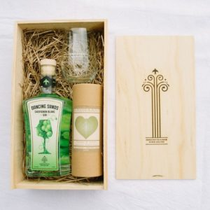 Sauvignon Blanc Gin with hand cream, glass, and gift box